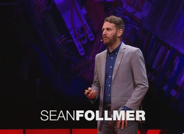 Image of Sean Follmer giving TED Talk